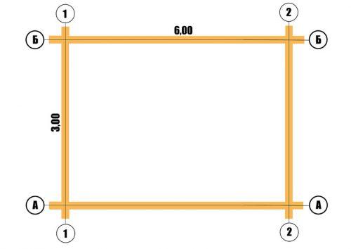 План сруба 3х6