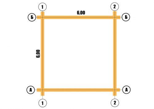 План сруба 6х6