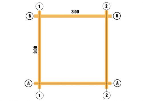 План сруба 3х3