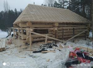Строительство сруба в г. Кадуй Вологодской области, февраль 2020